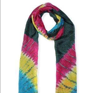 Green multi color silk scarf 20x70 Mulberry silk